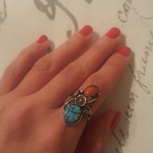 Navajo Red Coral & Turquoise Ring (5.5) (NWOT)